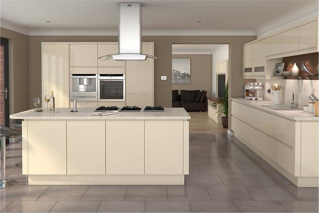 Innova Luca Gloss Cream handleless kitchen