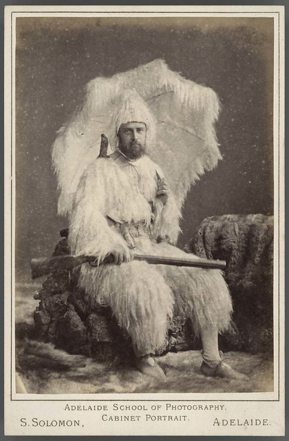 Cabinet card of a man dressed as Robinson Crusoe, 1888