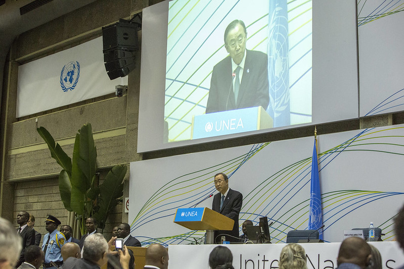 Ban Ki-moon durante a cerimônia de encerramento da assembleia. Foto: PNUMA