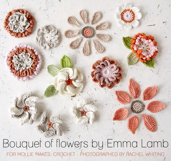 Bouquet of flowers by Emma Lamb for Mollie Makes: Crochet - photographed by Rachel Whiting