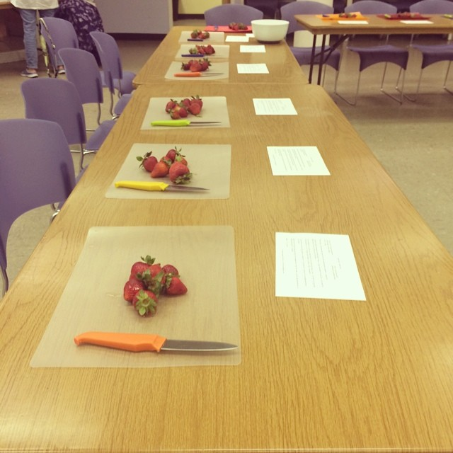 All set up for a strawberry vanilla jam class at the Havertown Library!