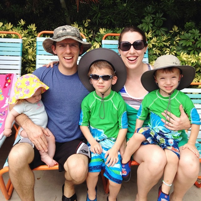June 2014 family picture! Geared up for a waterpark day. :)