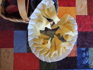 Hand-Pieced Sunflower in Progress