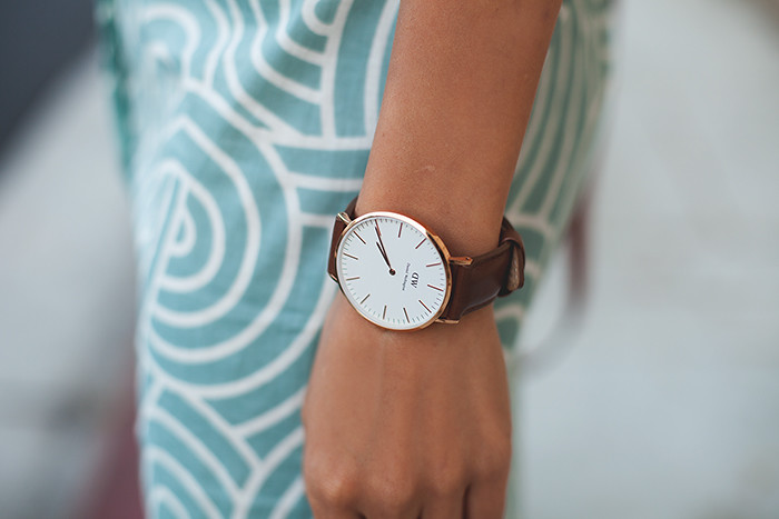 Stephanie Liu of Honey & Silk wearing Plum Pretty Sugar Anouk Boyfriend Shirt and Daniel Wellington Watch