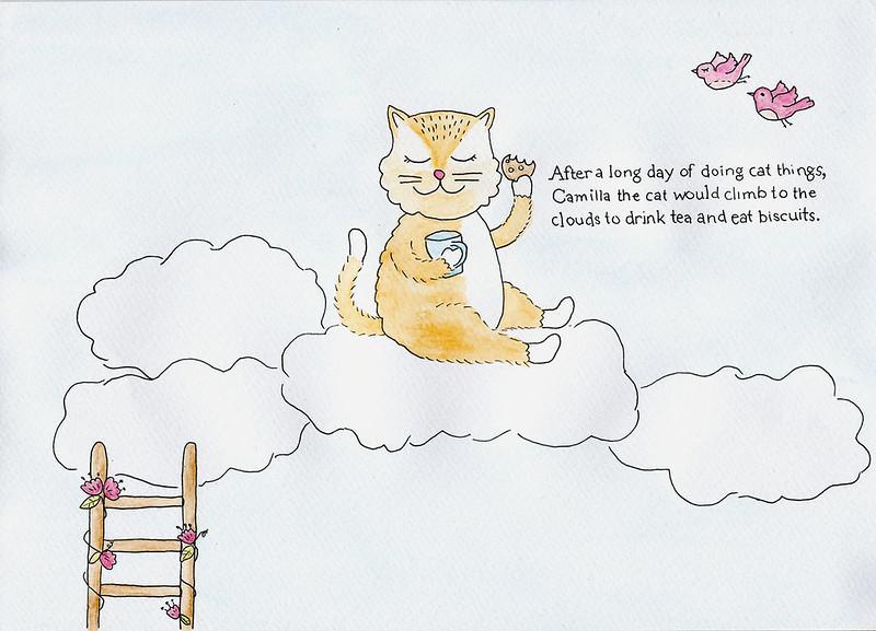 Camilla cat illustration. Week 26 of 52 week illustration challenge - clouds.