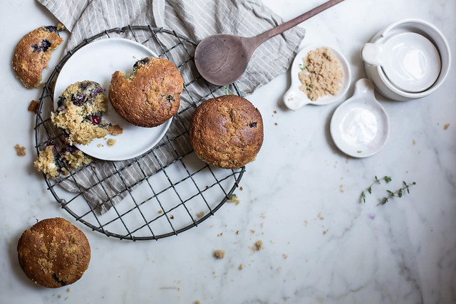 blueberry & cream cheese rye muffins + fringe & fettle ceramics x hackwith design house nesting spoons