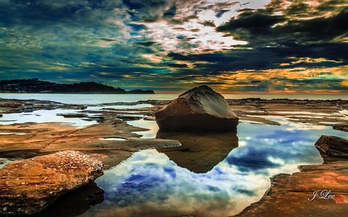 longexposure sea sky orange seascape reflection beach nature water rock clouds sunrise skyscape landscape bay exposure sydney tranquility australia scene centralcoast oceanscape