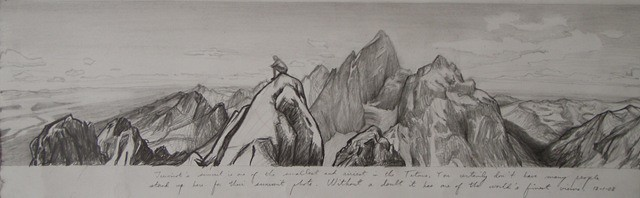 """This pencil study is the view from the summit of Teewinot. As the notes say on the sketch, """"One of the finest views in the world."""" You are looking directly across to the North Face of the Grand. I have in mind to do an oil of this view, 108 x 26 in. I have some pastel studies done from the summit to help with the colors."""