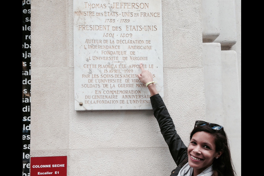 July 3, 2014 - University alumna Jennifer Douglas (CLAS '12) visits Thomas Jefferson's residence on the Champs-Elysées during a recent trip to Paris, France. Submitted by alum Jennifer Douglas (CLAS '12).