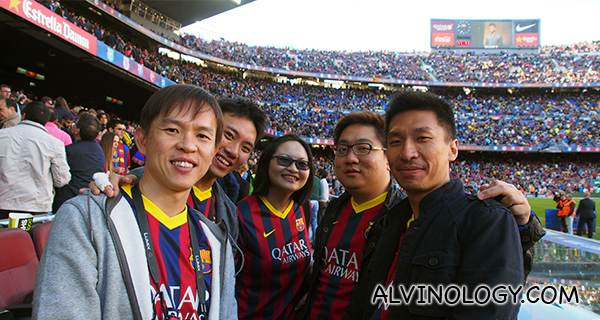 Group photo at half-time from our seats