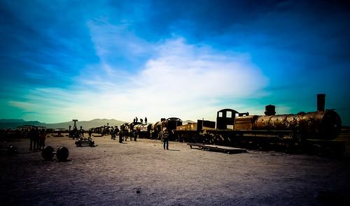 blue graveyard metal train bolivia uyuni potosidepartment 20140619