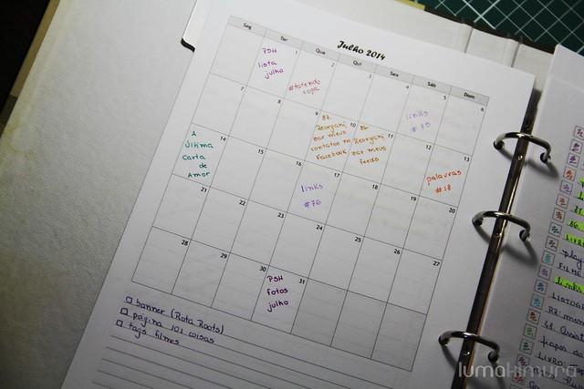 Blog Planner: calendário