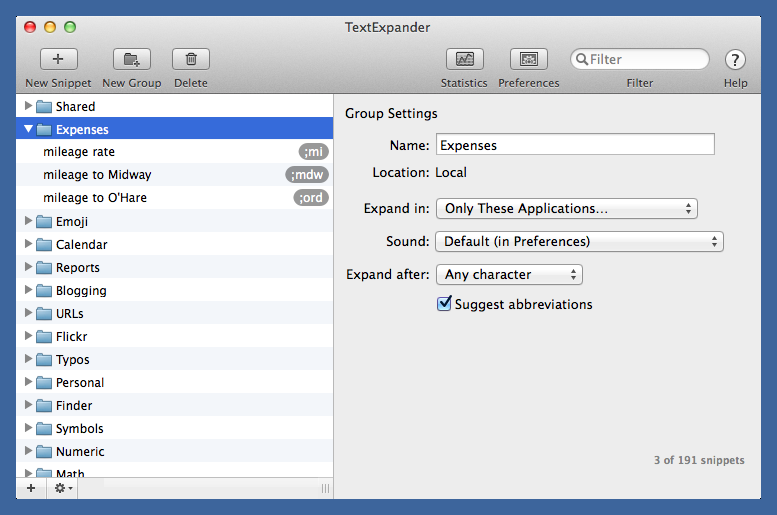 TextExpander Expenses folder