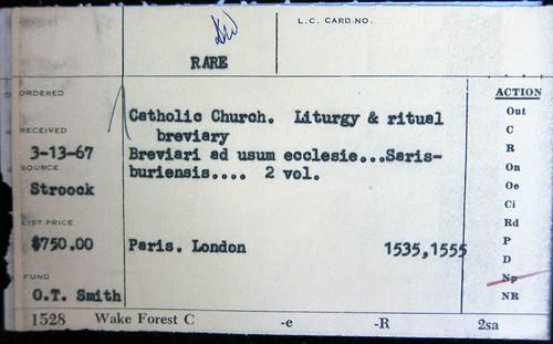 sarum breviary order card