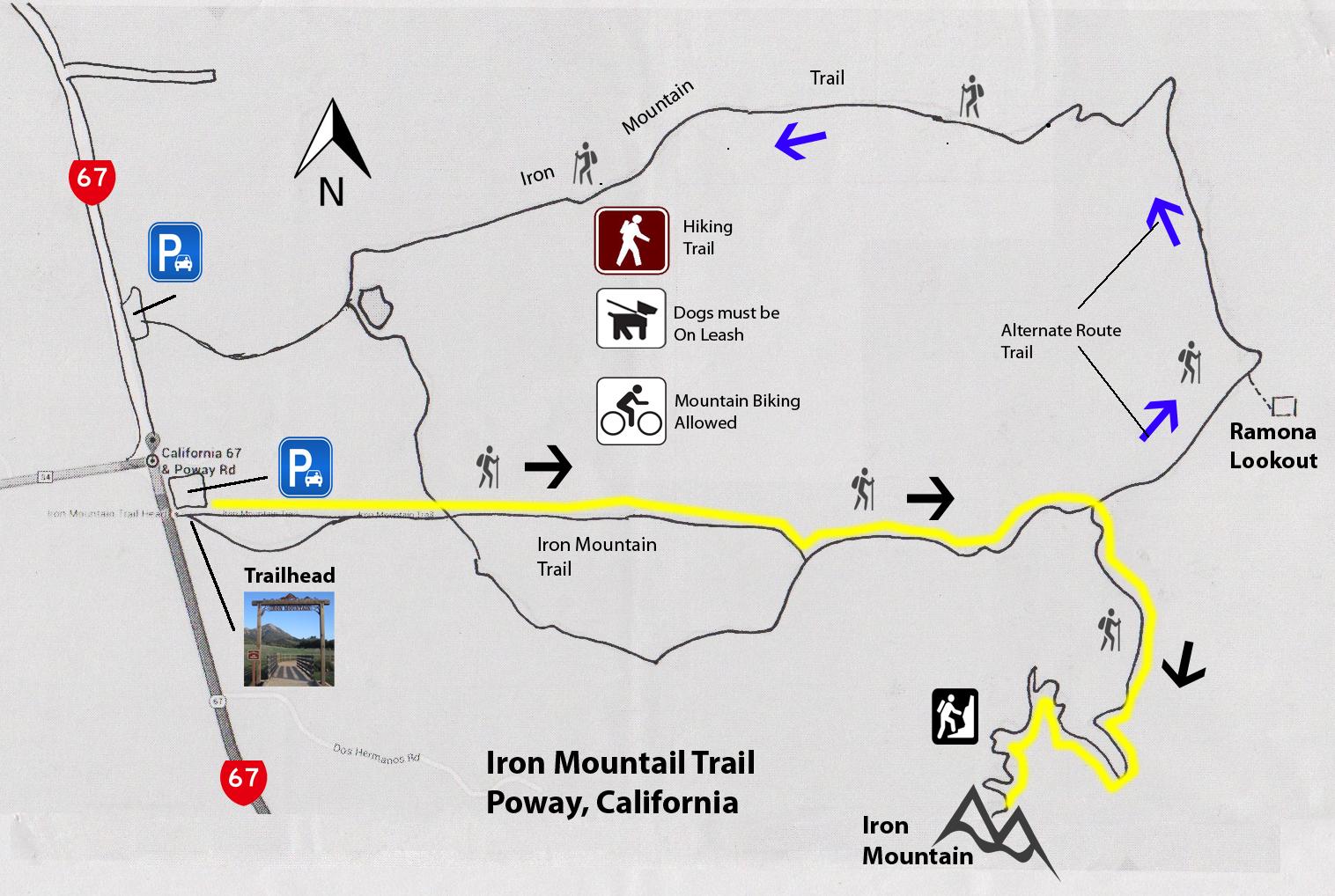 Poway California Map.Julius Afoot California Iron Mountain Hike