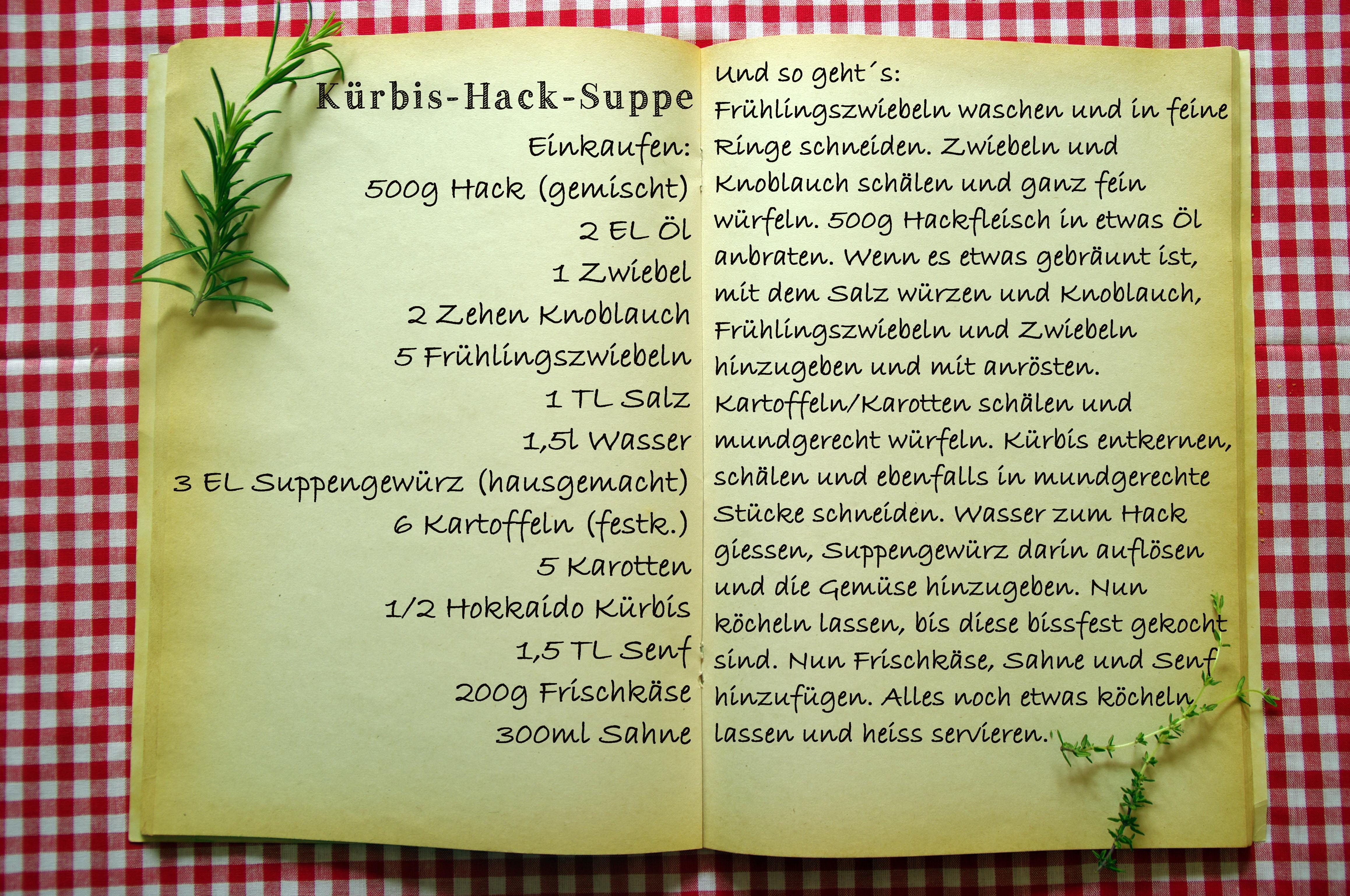 Einkaufszettel Kürbis Hack Suppe by Glasgeflüster1