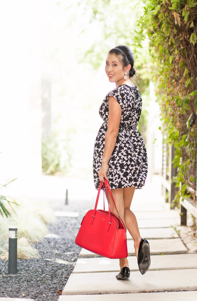 cute & little blog   petite fashion   black white bird tunic dress, red kate spade bag   maternity bump pregnant style   summer