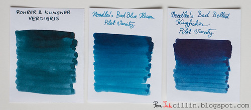 Rohrer & Klingner Verdigris vs Noodler's Bad Blue Heron vs Bad Belted Kingfisher