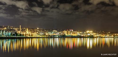 city longexposure nightphotography urban usa minnesota skyline night canal downtown nightlights waterfront august boardwalk fujifilm duluth lakesuperior liftbridge 2014 canalpark clickheretoaddkeywords 23mmf2 x100s