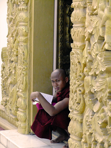 Monk at Atumashi Monastery in Mandalay, Myanmar