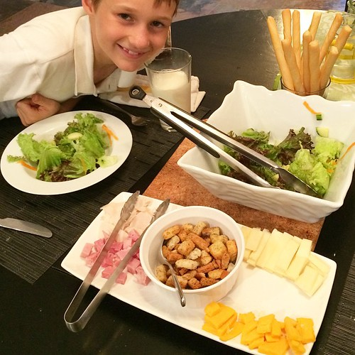 Bs night to make dinner! Chef salad on the menu. My son has asked to make dinner once a week. He started with chef salad because no cooking was involved. He made the shopping list, chop and prepared the presentation. He was so proud #cookingkids #lovemybo