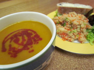 Butternut Soup with a Swirl of Cranberry; Pistachio-Pear Couscous Salad
