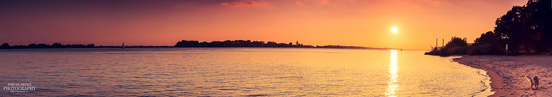 Sunset Elbstrand Blankenese Hamburg Panorama