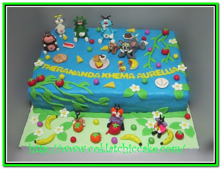 Kue ulang tahun dengan tema cake oggy and the cockroaches dan tom and
