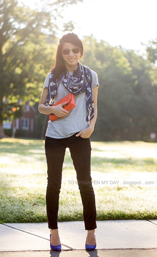 blue printed scarf, gray tee, orange clutch, blue suede pumps
