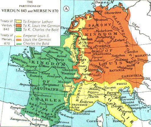 Map of the Carolingian Empire after the Treaty of Verdun from Muir Historical Atlas