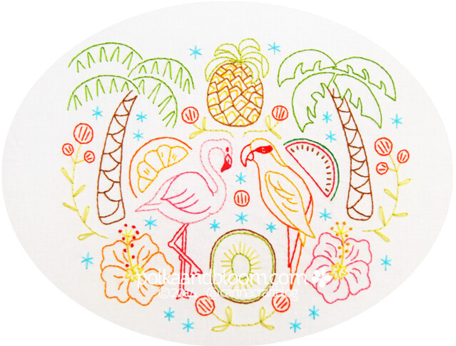 Tropical Frutti Paradise embroidery pattern
