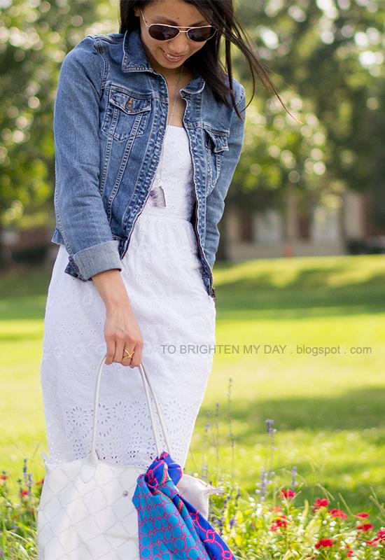 denim jacket, white eyelet dress, chain scarf