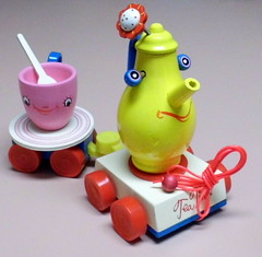 """Vintage Tea Time Toy Train, Sold By Sears, Model 49.4406, Made In Japan, """"Cleverly Animated Tea Pot And Cup That Toddlers Will Love!"""" (With Small Parts!!)"""