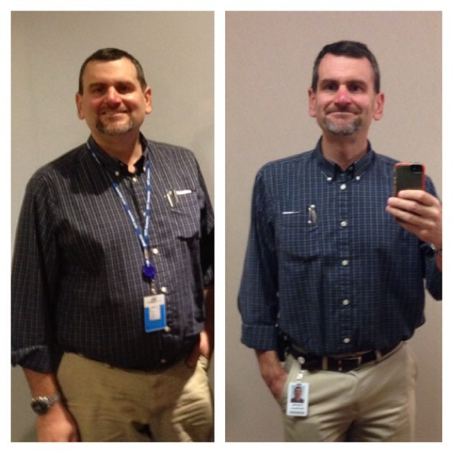 Same shirt, about a year apart. Thanks, @myfitnesspal, @fitbit, and @thesufferfest. #iwkmattkyt