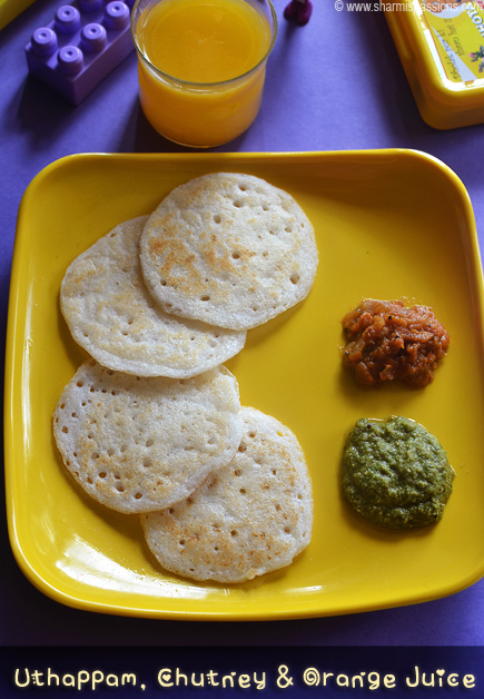 Mini Uthapam,Chutney and Orange Juice
