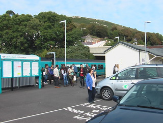 Train and passengers at Fishguard & Goodwick station