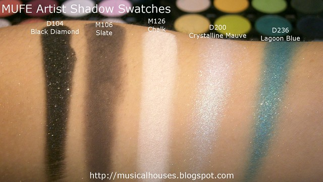 MUFE Artist Shadow Eyeshadow Swatches 1 Row 1