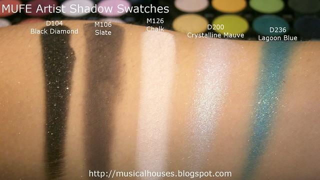 MUFE Artist Shadow Eyeshadow Swatches 1 Row 1