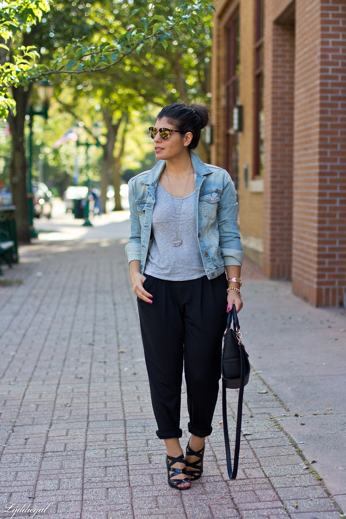 slouchy black pants, grey tee, denim jacket.jpg