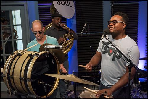 Aron Lambert, Steve Glenn, and Derrick Freeman with Soul Brass Band. Photo by Ryan Hodgson-Rigsbee www.rhrphoto.com