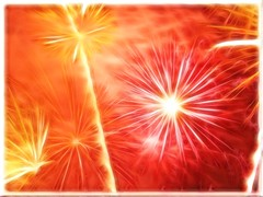 Pastel Yellow and Pink Fireworks in Red Smoke with Vignette and 3D Frame-Fractalius