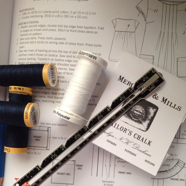A little bit of pinning and cutting this morning #dressmaking #dress #patterns #japanese