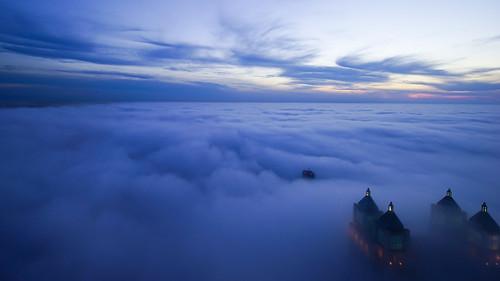 blue chicago fog clouds landscape photo cityscape image sony photograph hour a7r