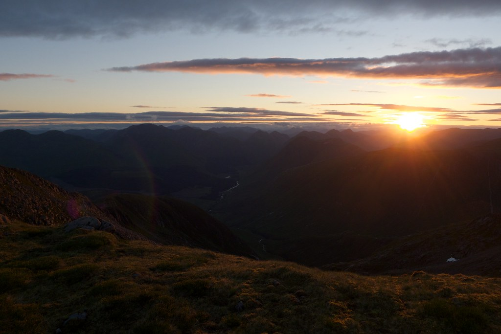 Sunrise over Glen Etive and the Glencoe mountains