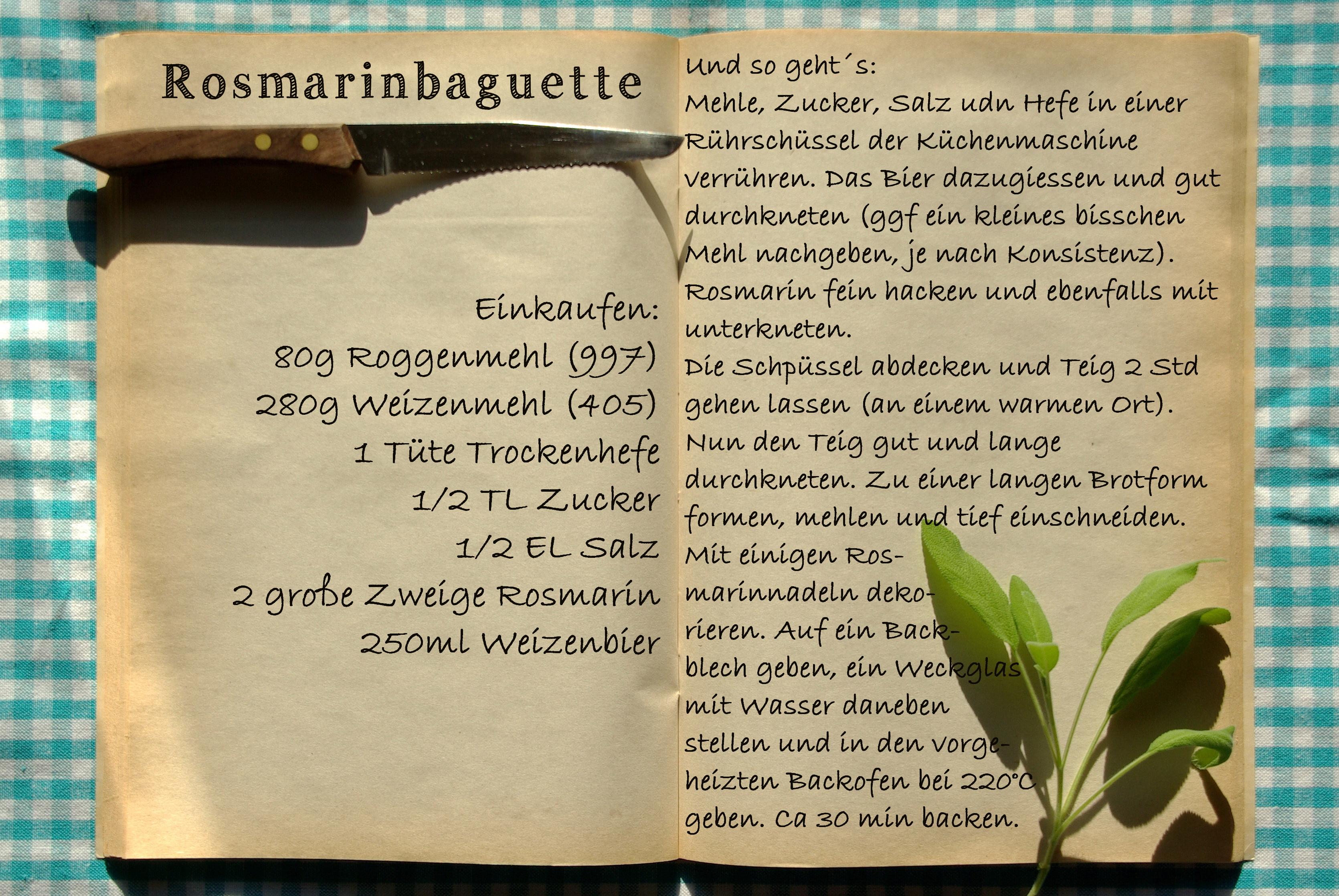 Einkaufszettel Rosmarinbaguette by Glasgefluester