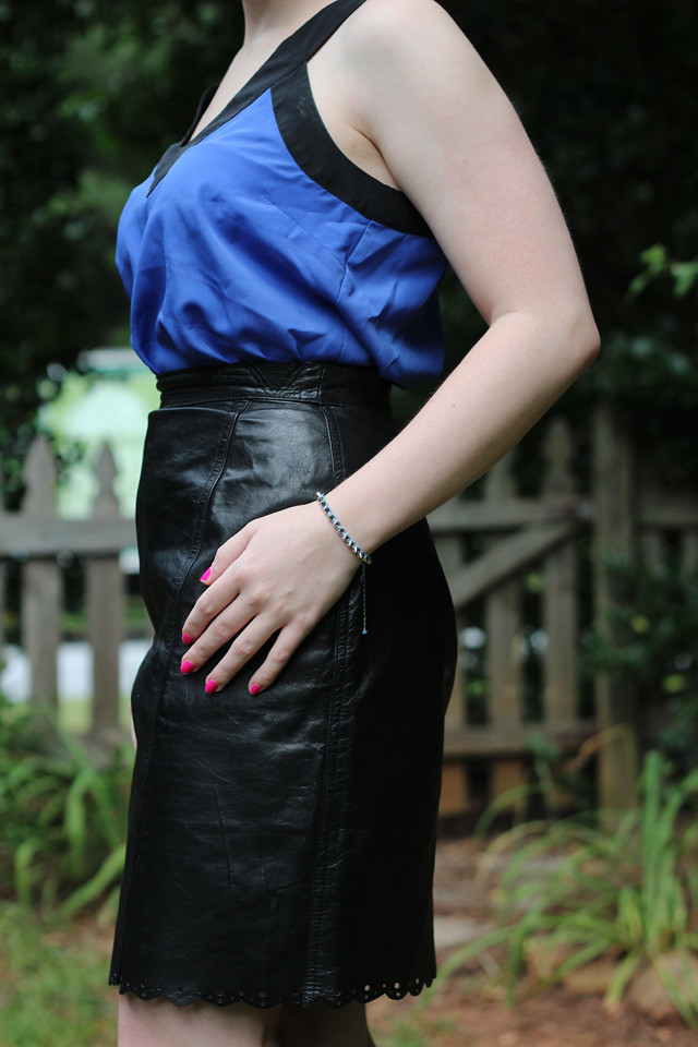 Black Leather Pencil Skirt with a Blue Tank Top