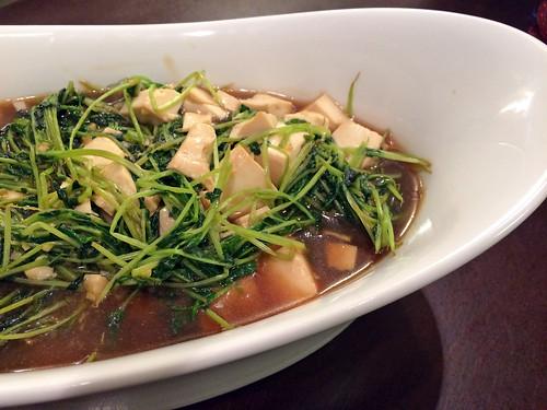 Pea shoots with soft tofu