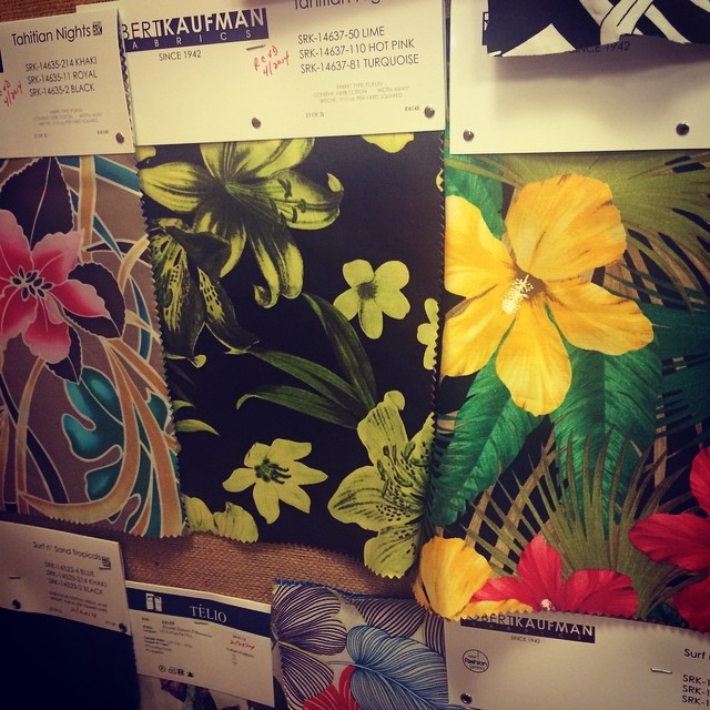 Hawaiian print swatches at the McCall Pattern Company.