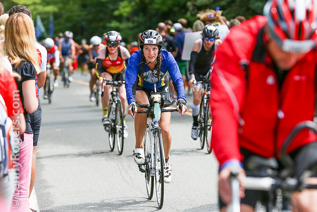 Wilmington University trainer Amanda Pupillo bikes during the 2014 IRONMAN competition on July 27 in Lake Placid, NY. She officially finished the competition in just under 13 hours.