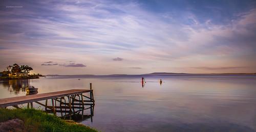 sunset pier jetty serene watersports southaustralia tranquil paddleboard tulka